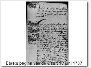Eerste pagina Caert 10 juni 1707
